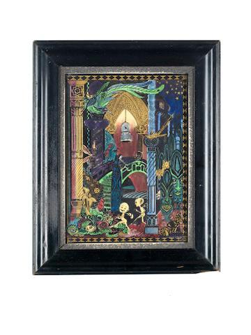 Daisy Makeig-Jones for Wedgwood 'Elfin Palace' an Important Prototype Fairyland Lustre Plaque, circa 1920