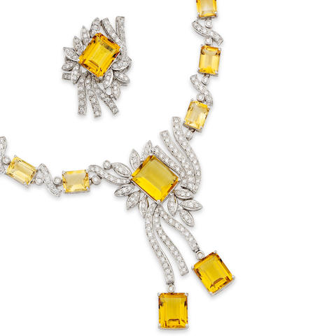 A citrine and diamond necklace, bracelet, earrings and ring suite, 1970s