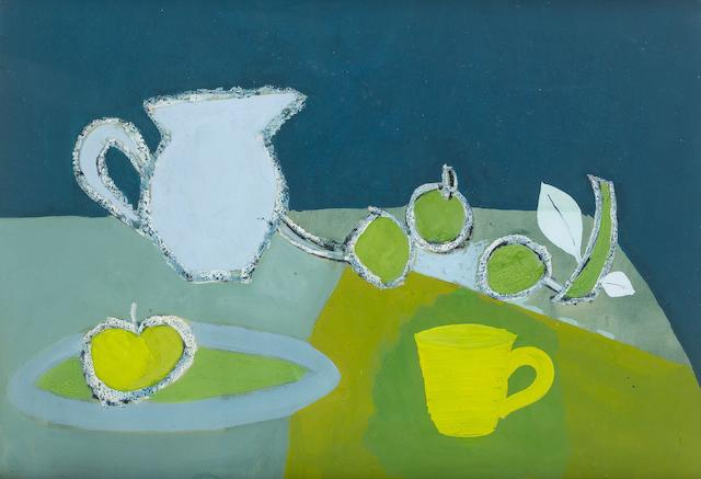 Keith Vaughan (British, 1912-1977) Still Life with Greengages and Yellow Cup 37 x 53 cm. (14 1/2 x 21 in.)