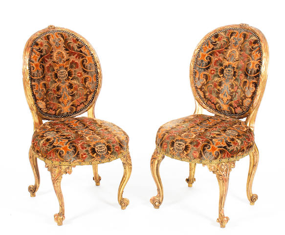 Pr of giltwood chairs