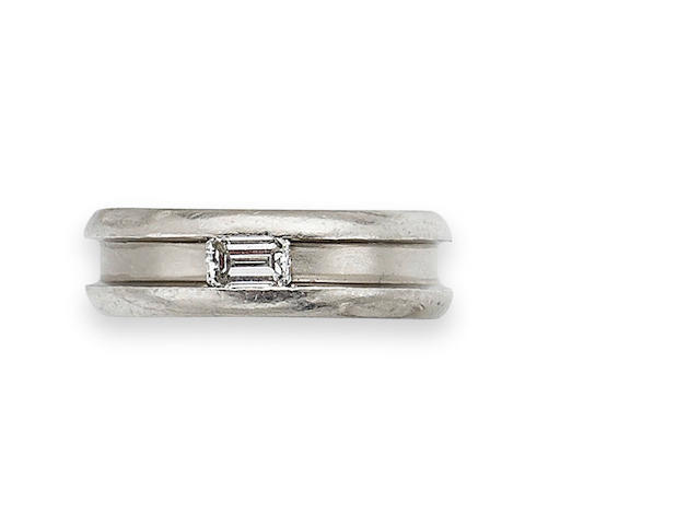 An emerald-cut diamond ring, by Boodles