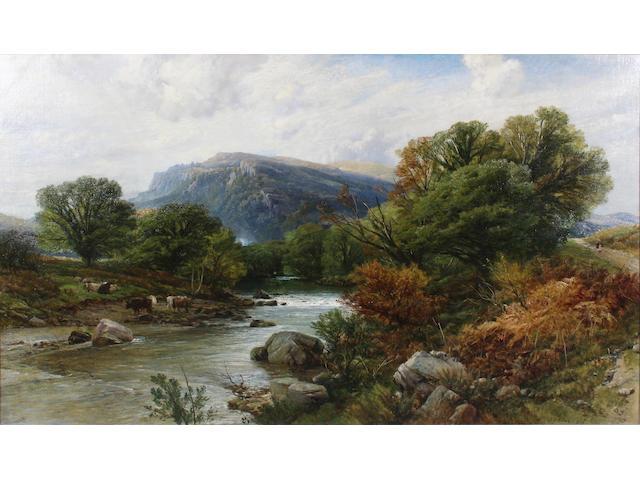 """Frederick William Hulme (British, 1816-1884) """"On the Llugwy, Vale of Bettws, N(orth) W(ales)"""" 75.5 x 126.5cm."""