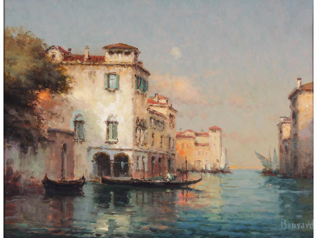 Noel Georges Bouvard (French, 1912-1975) Venetian backwater at dusk; evening glow 27 x 35cm. A pair. (2)