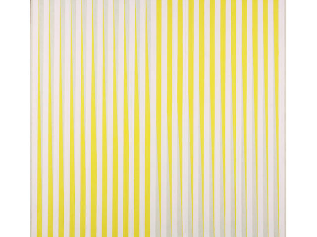 Richard Allen (British, 1933-1999) 'Untitled (Pink and Yellow)' 122 x 122cm. Unframed