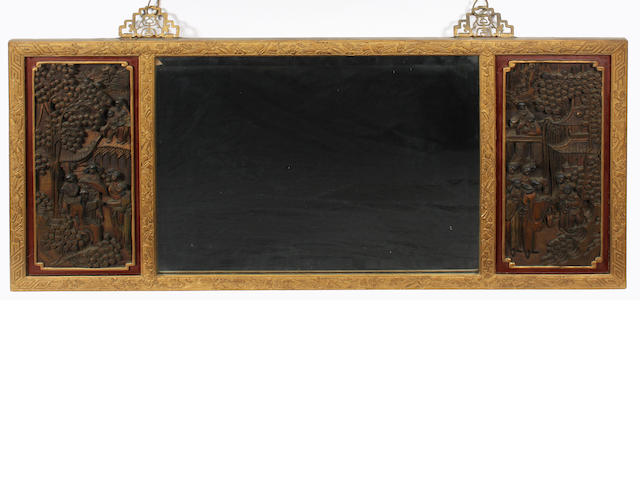 A decorative Chinese gilt and foliate carved rectangular frame wall mirror, early 20th century
