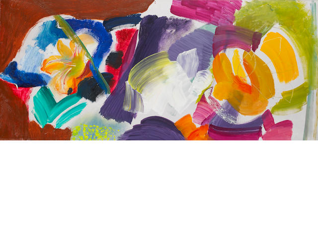 Ivon Hitchens (British, 1893-1979) Lily and Poppy 41 x 91.5 cm. (16 x 36 in.) (unframed)