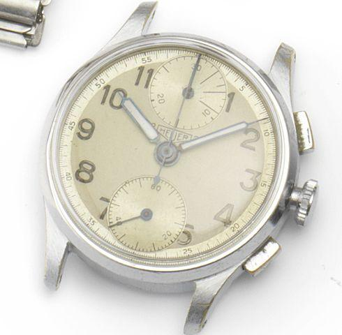 Heuer. A stainless steel manual wind chronograph wristwatch 2Heuer2, Circa 1950's