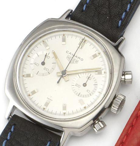 Heuer. A stainless steel manual wind chronograph wristwatchCamaro,  Ref: 7743, 1970's