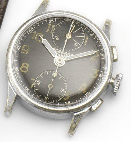 Heuer. A stainless steel manual wind chronograph wristwatch2Heuer2, Circa 1950's