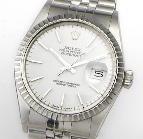 Rolex. A stainless steel automatic calendar wristwatch together with box and papersRef: 16030, Serial No: R588021, Made Circa 1988