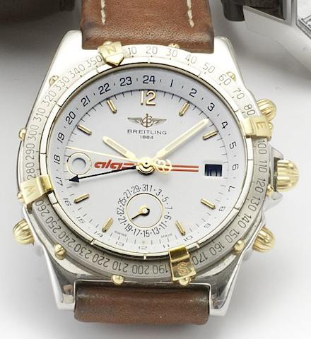Breitling. A stainless steel automatic twin-time zone calendar wristwatch together with day and night indicatorDuograph Alga, Sold 1997