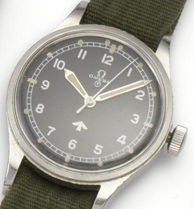 Omega. A stainless steel manual wind military wristwatch 1953