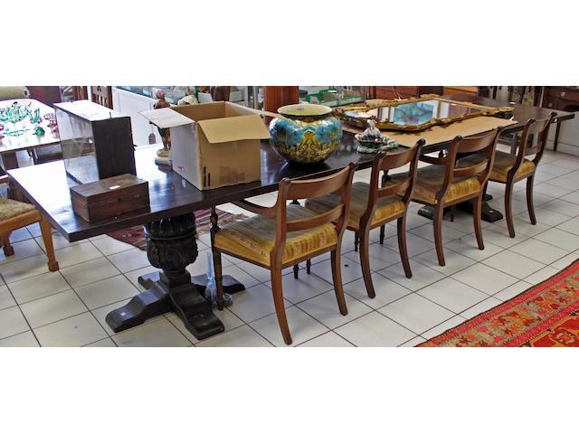 An Elizabethan style oak refectory table,