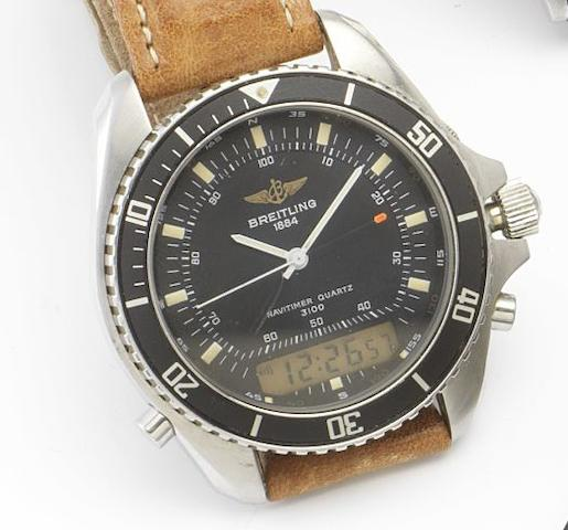 Breitling. A stainless steel quartz wristwatch with multi-function digital display Navitimer, Ref: A51037, Case No: 26194, circa 1990