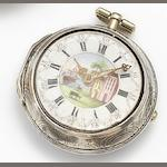 Miller. A silver repousse pair cased key wound pocket watch date??