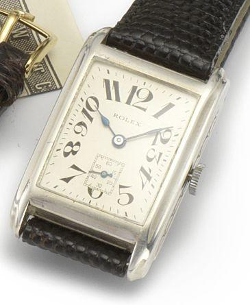 Rolex. A silver manual wind wristwatchLondon import mark for 1930