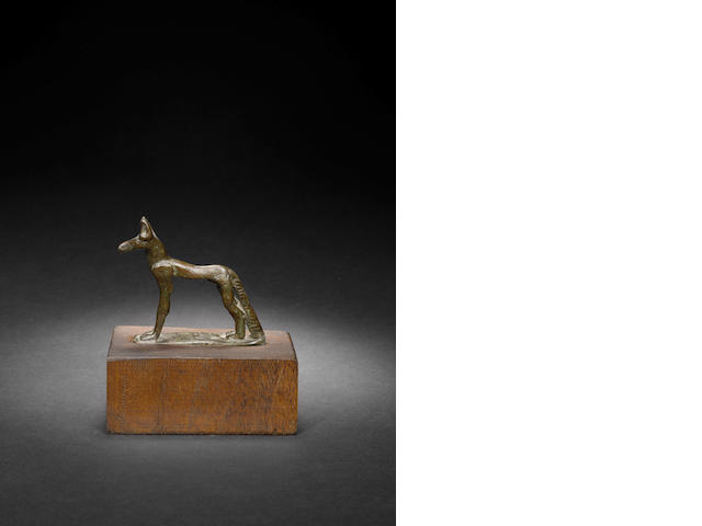 An Egyptian bronze figure of a jackal - Boulad 1958 known as 'Marc'