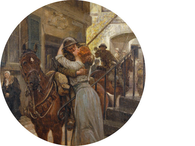 Richard Caton Woodville II (British, 1856-1926) The returning soldier 39.5cm (15 9/16in) diameter