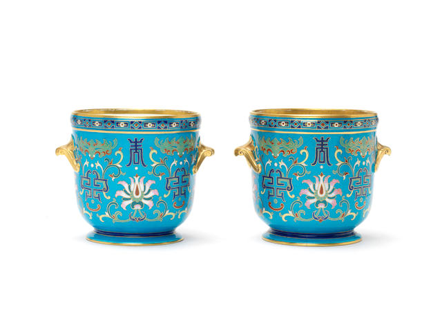Christopher Dresser for Minton A Pair of Cloisonné Porcelain Jardinieres, circa 1875