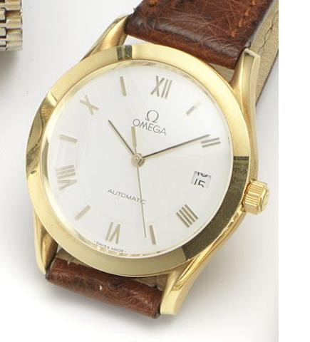 Omega. An 18ct gold automatic calendar wristwatch Circa 1990