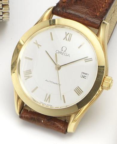 Omega. An 18ct gold automatic calendar wristwatch Circa 1990