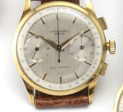 Universal. An 18ct gold manual wind chronograph wristwatch Uni-Compax, 1950's