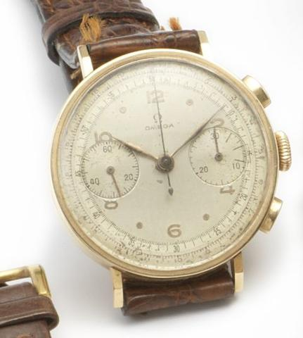 Omega. An 18ct gold manual wind chronograph wristwatch1950's