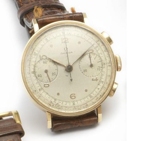 Omega. An 18ct gold manual wind chronograph wristwatch 1950's