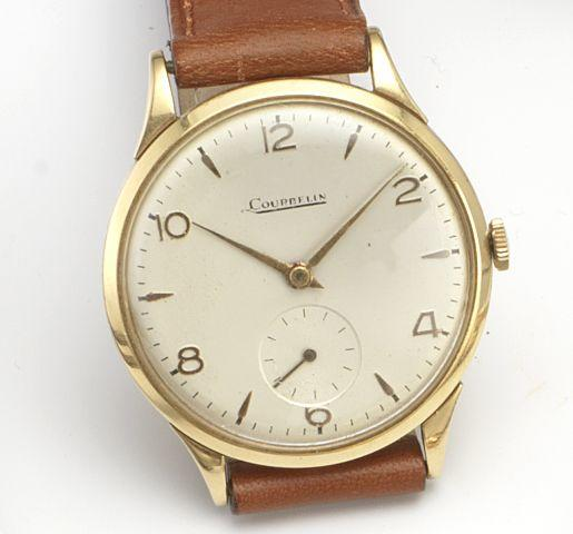 Swiss. An 18ct gold manual wind wristwatch Dial signed Courbelin, Circa 1950's