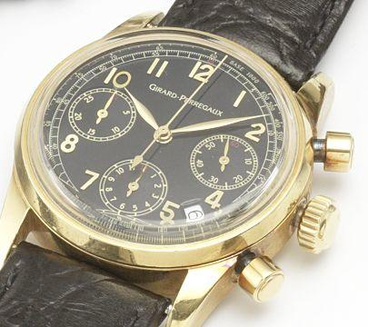 Girard Perregaux. An 18ct gold automatic chronograph calendar wristwatch Recent