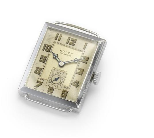 Rolex. A stainless steel manual wind rectangular wristwatch Marconi, retailed by James Walker, 1930's