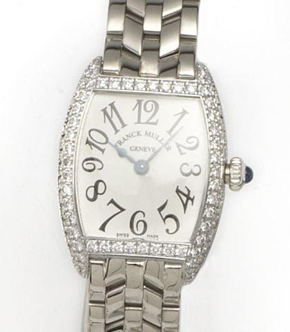 Frank Muller. A fine 18ct white gold diamond set lady's bracelet watch together with fitted box and papers