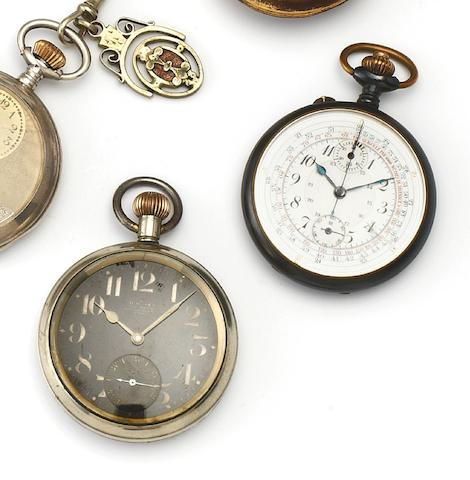 A lot of two pocket watches including a Gun metal chronograph and an Omega Military issue watch with later Southern Railway markings