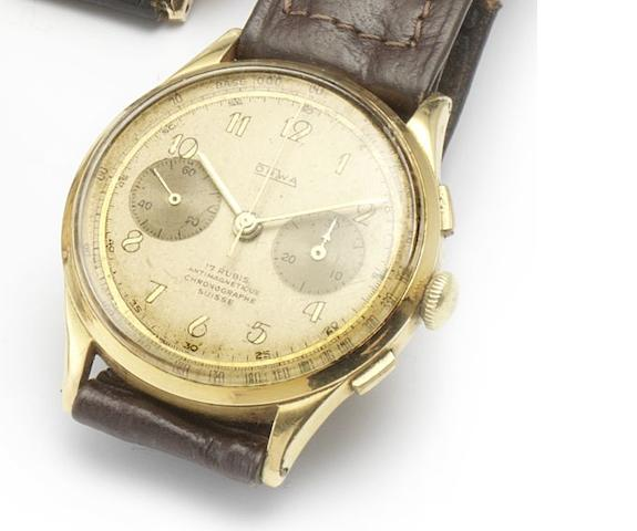 Swiss. An 18ct gold manual wind chronograph wristwatch 1950's
