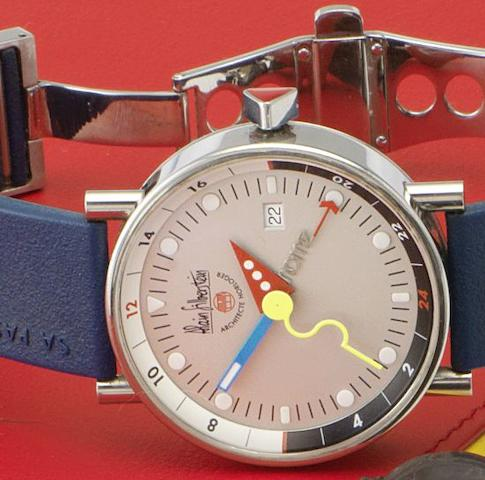 Alain Silberstein. An unusual stainless steel automatic calendar wristwatch together with fitted box and papersKlub GMT Numbered 252/500, Sold 5th February 2002
