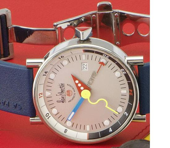 Alain Silberstein. An unusual stainless steel automatic calendar wristwatch together with fitted box and papers Klub GMT Numbered 252/500, Sold 5th February 2002