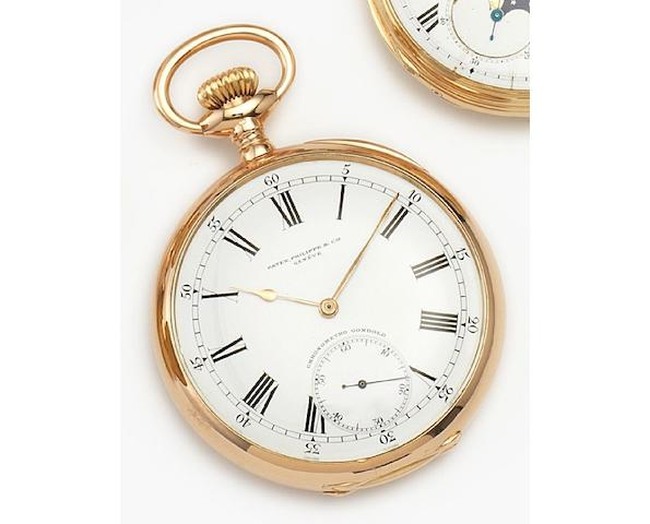 Patek Philippe. An 18ct gold manual wind open faced pocket watch Gondolo, Case No.261321, Movement No.156268, Circa 1891