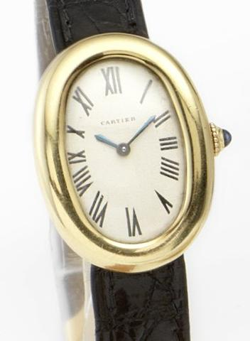 Cartier. A lady's 18ct gold manual wind wristwatchBagnoire, 1960's