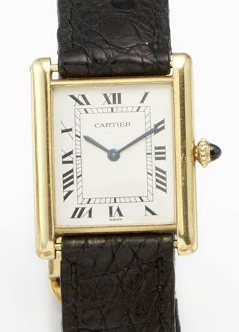 Cartier. An 18ct gold manual wind wristwatchTank, Date??