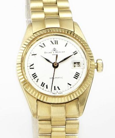 Baume & Mercier. A lady's 18ct gold automatic calendar bracelet watch 1980's