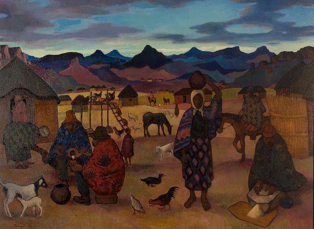 Francois Krige (South African, 1913-1994) Basotho village scene