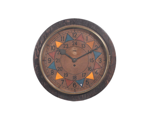 An RAF oak veneered clock case with Sector painted dial,