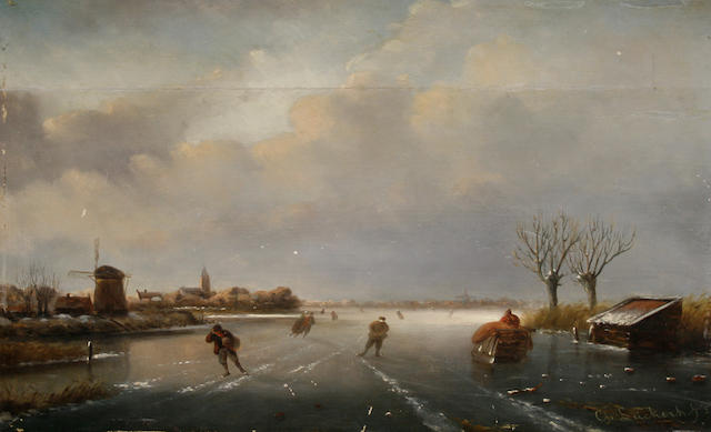 Attributed to Charles Leickert (Dutch, 1816-1907) Winter landscape with skaters