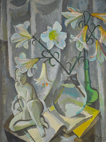Alfred Frederic Krenz (South African, 1899-1980), 1947 Still Life with Lilies and small sculpture