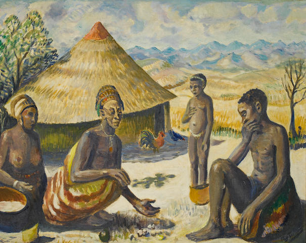Reginald Turvey (South African, 1882-1968) Figures by a rondavel
