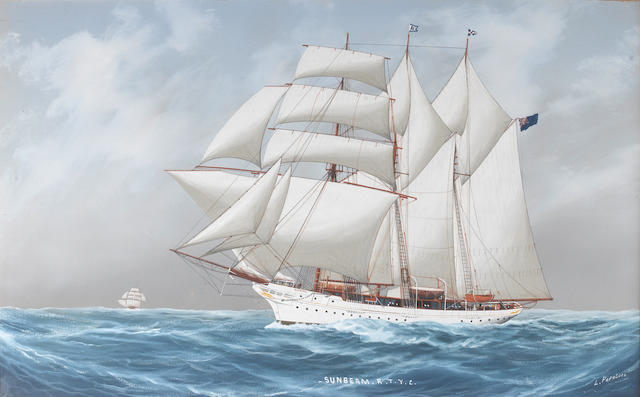 L. Papluca (Italian) The auxiliary topsail schooner yacht Sunbeam R.T.Y.C. at sea. Together with a signed photograph of her last owner,  Sir Walter Runciman, dated 1924. 17x26.5in. (43x67cm)