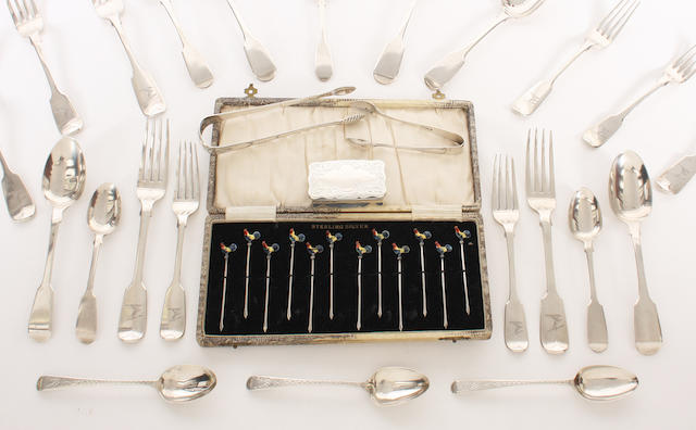 A collection of 19th century silver fiddle pattern flatware Various dates and makers  (26)
