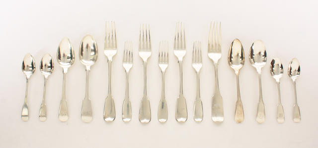 A set of six George IV silver fiddle pattern table forks By Messrs Lias, London, 1825,  (33)