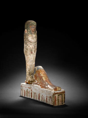 An Egyptian gesso painted wood figure of Ptah Sokar Osiris