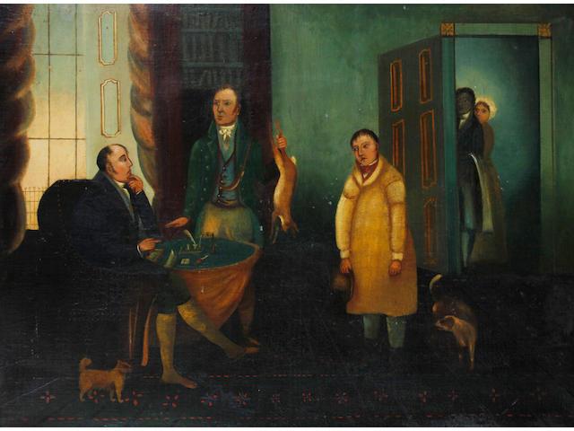 English Naive School circa 1850 Interior with apprehended poacher